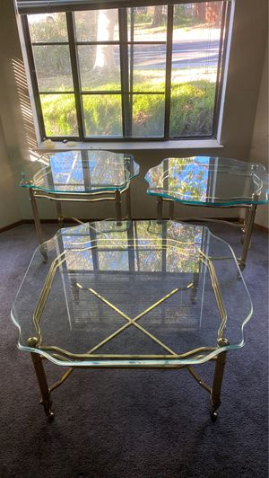 Coffee and End tables. Solid gold. Very thick glass. for Sale in Antioch, CA