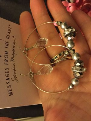 Large hoop fashion earrings with Crystals ✨❤️✨ for Sale in Lincolnia, VA