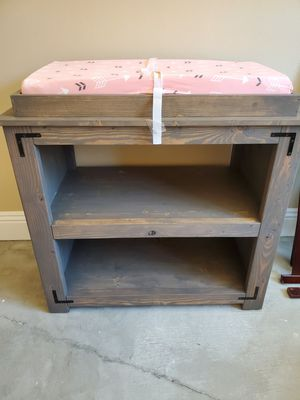 Farmhouse removable diaper Changing table/storage for Sale in Yucaipa, CA