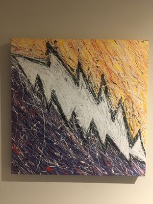 Michael K Oil Painting of an Abstract Lightning Bolt for Sale in Chicago, IL