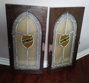 Antique pair stained glass cabinet doors for Sale in Carrollton, TX