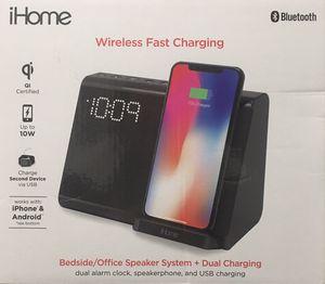 iHome Wireless Fast Charging, Qi-USB Charging-Bluetooth-Alarm Clock-Speakerphone for Sale in San Dimas, CA