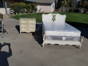 Solid wood French provencal full size bed with matching 3 drawer dresser for Sale in Selma, CA