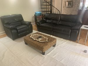 Black Leather Reclining Sofa and Chair for Sale in Coral Gables, FL