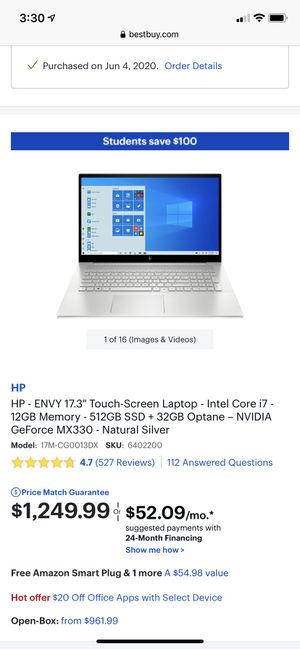 HP Envy Touchscreen Laptop for Sale in Mendon, MA