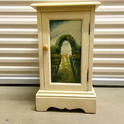 Hand painted two shelf wood cabinet with scene of Italian countryside on the front. for Sale in Littleton,  CO