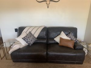 Brown Faux Leather Reclining Couch for Sale in Scottsdale, AZ