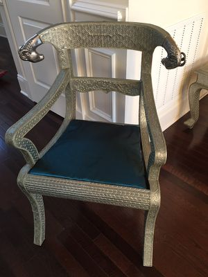 Embossed Moroccan Style Chair, side table, and mirror for Sale in Ashburn, VA
