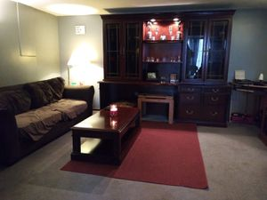 Solid wood dark stained desk / hutch with built-in lights for Sale in Noblestown, PA