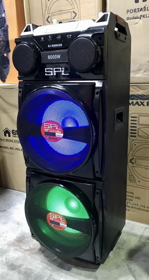 "Brand New Double 12"" woofer speaker. Party speaker with dual bluetooth and sound effects. Wireless m for Sale in Hialeah, FL"