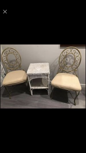 two metal patio chairs and a table for all $ 30 for Sale in Fort Myers, FL