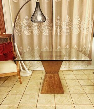 MSRP 800$-Modern Designer Hourglass Wood-base Dining Table w/ Square Glass Top for Sale in Monrovia, CA