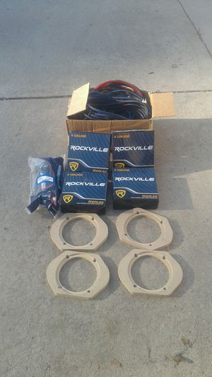 4, Rockville 4 gauge amplifier wiring kits, various wiring and mounting goodies. for Sale in Gilroy, CA