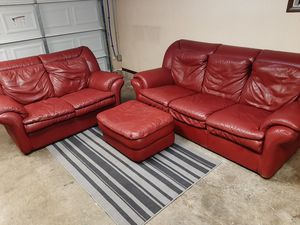 Beautiful real leather red couch set for Sale in Renton, WA