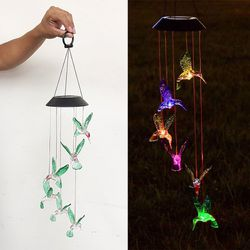 New in box $15 Solar Color Changing LED Hummingbird Wind Chimes Home Garden Decor Light Lamp for Sale in Pico Rivera,  CA