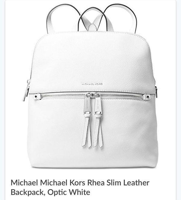 f478c2ae8999bf MICHAEL KORS RHEA MEDIUM SLIM BACKPACK IN OPTIC WHITE BNWT for Sale ...