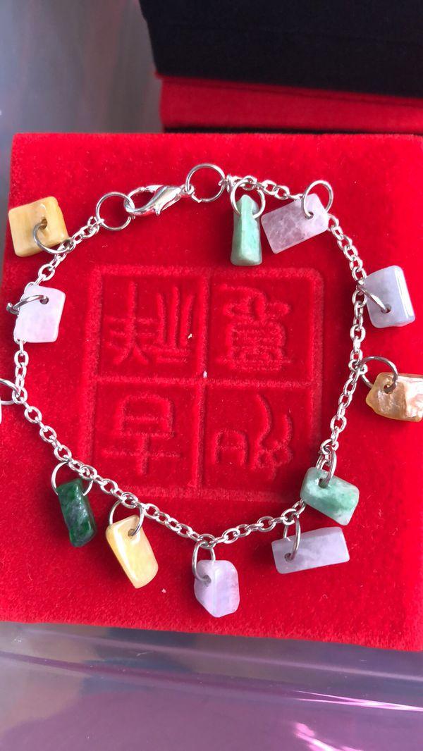 Certified A grade jade jadeite chips bracelet size 7.5