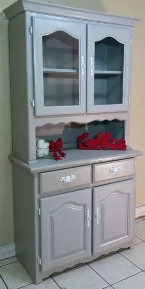 2PC Light Gray Credenza / Buffet / Hutch / Coffee Station for Sale in Phoenix, AZ