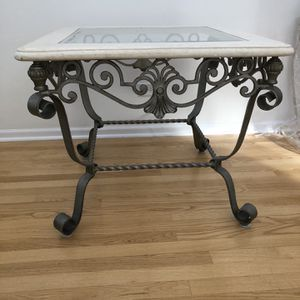 Table, Glass & Marble Top. Dark Silver Metal Base for Sale in Itasca, IL