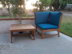 Chair ( Can be Corner Chair )Patio & Table Solid Wood Brand New for Sale in Industry, CA