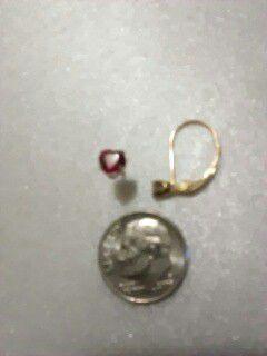 2 single pierced earrings one small diamond leverback 14 karat gold 1 10 karat gold ruby heart pierced stud earring acid tested and stamped for Sale in Mesa, AZ