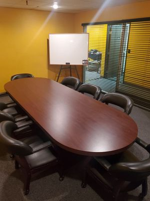 conference table w/ 8 rolling chairs for Sale in San Marcos, CA