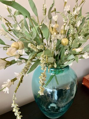 Tall Glass Vase and Artificial Flowers Teal Blue White Home Decor for Sale in Phoenix, AZ