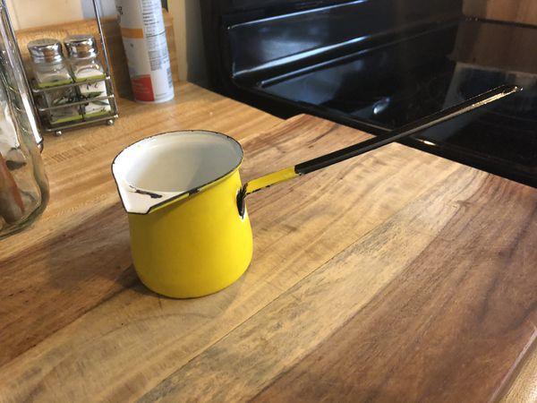 Vintage Yellow Enamel Dipper Ladle
