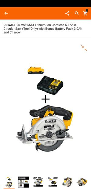 DEWALT 20-Volt MAX Lithium-Ion Cordless 6-1/2 in. Circular Saw (Tool-Only) with Bonus Battery Pack 3.0Ah and Charger for Sale in Dumfries, VA