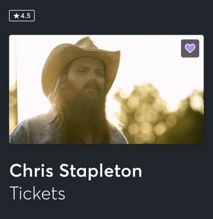 2 Chris Stapleton tickets sec 122 for Sale in Grand Prairie, TX