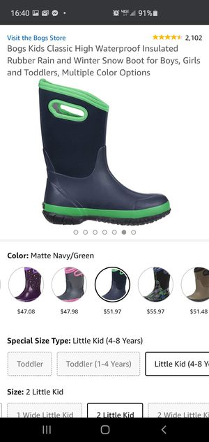 Bogs Kids Classic High Waterproof Insulated Rubber Rain and Winter Snow Boot for Boys, Girls for Sale in Boca Raton, FL