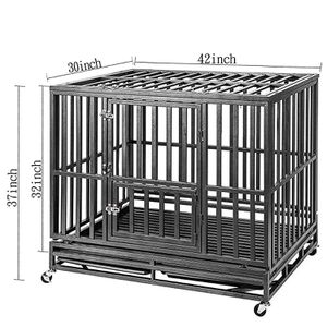 42inch Heavy Duty Dog Crate Strong Metal Pet Kennel Playpen with Two Prevent Escape Lock, Large Dogs Cage with Wheels, Black for Sale in La Puente, CA
