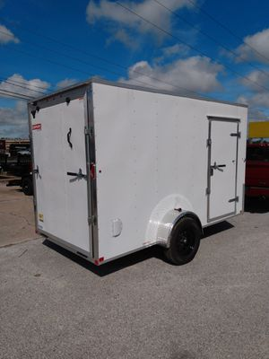 6x12 inclosed trailer only has 1000 miles on it interior dome lights and vents has a side door and rear door with cables. for Sale in Houston, TX