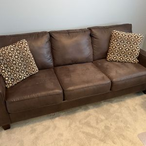 Brown Faux Leather Couch for Sale in Portland, OR