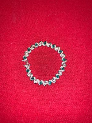 Women's 925 Silver Emerald/Diamond Bracelet for Sale in VERNON ROCKVL, CT
