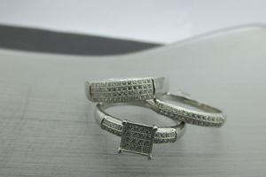 925 Fine Silver Wedding Band set of 3 with synthetic Zirconias for Sale in Los Angeles, CA