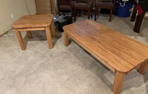Solid oak coffee and end table for Sale in Littleton, CO