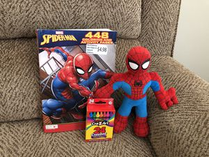 Spider-Man plush toy with new coloring book and crayons for Sale in St. Peters, MO