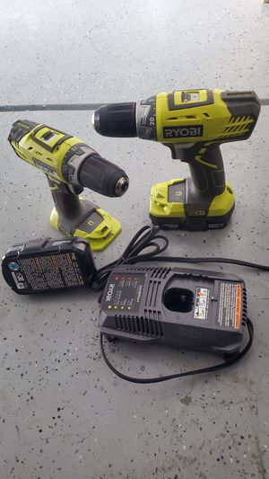 Selling used 2set of Ryobi 18v drill drive P208B with 2 battery and 1 charger for Sale in Fredericksburg, VA