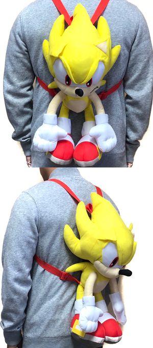 NEW! Novelty Super Sonic The Hedgehog soft plush backpack movie kids bag shoulder bag rave sega video games anime for Sale in Los Angeles, CA