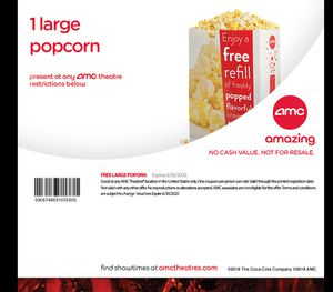Amc popcorn and drink for Sale in Riverside, CA