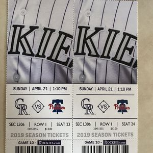 2 TICKETS ROCKIES VS PHILLIES SUNDAY APRIL 21 for Sale in Denver, CO
