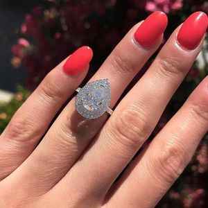 Hot Selling Luxury Pear Shape Micro Paved CZ 925 Silver Engagement Wedding Ring Size 6, 7, 8, 9 for Sale in Southampton, PA