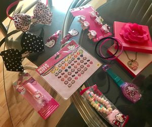 NEW HELLO KITTY FUN DRESS UP, TOY, AND HAIR ACCESSORIES BUNDLE for Sale in Colorado Springs, CO