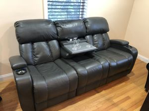 Leather Recliner Couch with USB power and table for Sale in Boston, MA