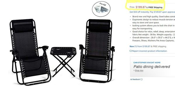 3 Pc Patio Outdoor Furniture Set Recliner Folding Lounge Chairs and Table.