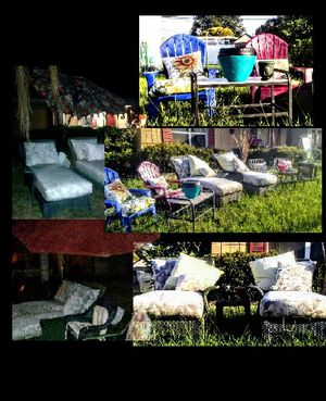 11pc PATIO FURNITURE SET $120/OBO+wrought iron table 4 umbrella to sit in (pic to come) IN GREAT CONDITION STEAL BUT MUST SELL FAST for Sale in Saint Petersburg, FL