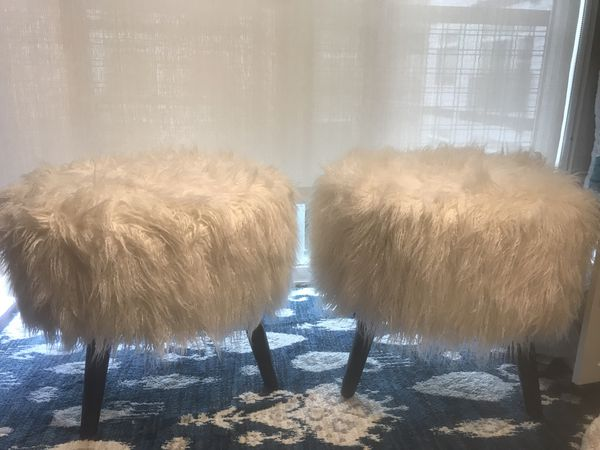 Two vanity faux fur stools ( perfect for desk or vanity table/ or bedroom -height 18 inches