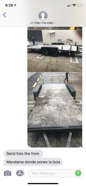 18Ft Car or hauling Trailer Flat bed 18/6.5 Diamond plated deck Two New Axels Not in a rush to sell (Can be Transformed) No Accidents, Clean Tires/Ax for Sale in Pembroke Pines, FL
