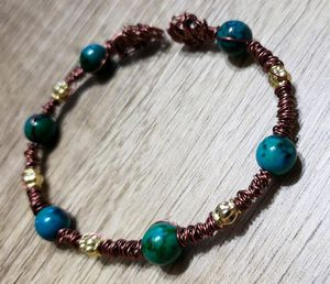 Hand Crafted Antique Copper Memory Wire Wrapped Bracelet, w Painted Glass & Metal Beads for Sale in Wareham, MA